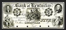 Bank of Kentucky, 18xx (ca.1840's) Proof Obsolete Banknote.