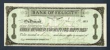Bank of Felicity. 1883. Advertising note.