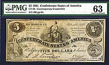 Confederate States of America, 1861, CT-36 Contemporary Counterfeit Banknote.