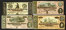 Confederate States, 1864 Issue and Georgia note.