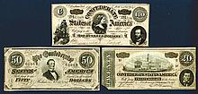 CSA, February 1864 Issued Banknote Trio with Confederate