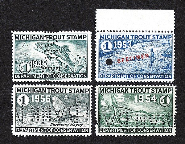 michigan trout stamp specimens 1948 1953 1954 1956. Black Bedroom Furniture Sets. Home Design Ideas