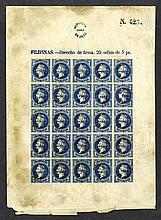 5 Peso Revenue stamp uncut sheet.