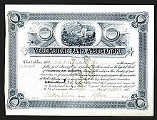 Yellowstone Park Association, 1885 Issued Stock Certificate.