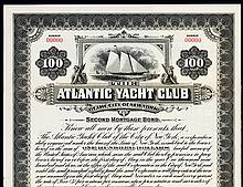 Atlantic Yacht Club of the City of New York Specimen Bond.
