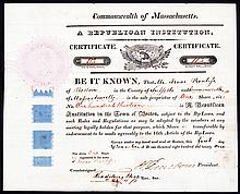 A Republican Institution, 1821 Stock Certificate Signed by Henry Dearborn.