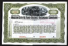 Mason City & Fort Dodge Railroad Co., ND (ca.1900) Specimen Stock Certificate.