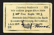 Deutsch Ostafrikanische Bank. 1917 Emergency Issue.