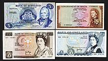 Bank of England, Bank of Scotland, Government of Malta issues.