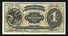Banque Nationale de la Republique D'Haiti. 1919 First Issue.