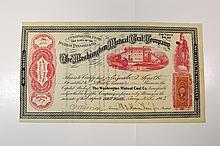 Washington Mutual Coal Co. Stock Certificate.