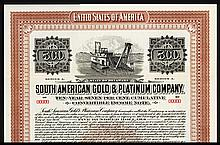 South American Gold Platinum Co. Specimen Bond.