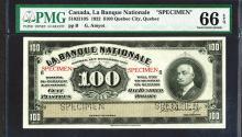 La Banque Nationale, 1922 Issue Specimen Set of 5 notes