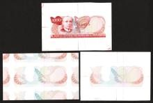 Banco Central De Costa Rica Unfinished Banknote Trio Progress Proofs, 1986, 87 Issue.