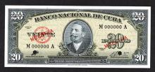 Banco Nacional de Cuba. 1960 Issue.