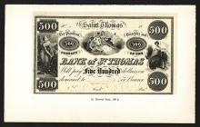 Bank of St. Thomas. Reprint Issue Proof.