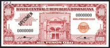 Banco Central De La Republica Dominicana, ND (1962) Specimen Banknote.