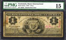 Banco Internacional De Guatemala, 1879 Issue Banknote.