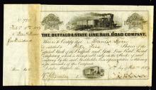 Daniel Drew Signed 1857 Buffalo & State Line Rail Road Company Stock Certificate.