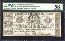 Arkansas Treasury Warrant, State of Arkansas, 1863 Issued Banknote.