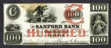 Sanford Bank, $100, 1860 Issued Obsolete Banknote.