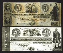 Rhode-Island Agricultural Bank, Ca. 1840's, Obsolete Banknote Pair.