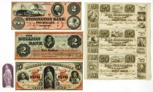 Obsolete Banknote Group Including Whaling Vignette and Railroads.