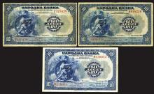 National Bank, Kingdom of Serbs, Croats and Slovenes, 1920, Trio of Issued Banknotes