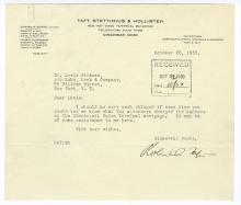 Robert Taft. Typed Letter Signed. 1930.