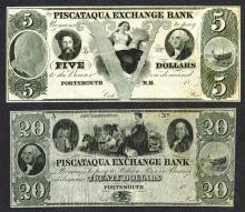 Piscataqua Exchange Bank Obsolete Banknote ca.1840-50.
