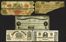 Morris Canal $5. note fragment and others.