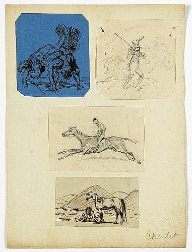 Nicolas-Toussaint Charlet Paris, 1792-1845 Quatre études : deux soldats sur papier bleu, un convoi de grenadiers, un jokey à cheval,...