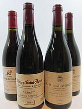 4 bouteilles 2 bts : CLOS DES LAMBRAYS 1989 Grand Cru. Domaine Saier (étiquettes fanées)
