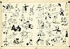 HERGÉ Georges REMI dit 1907 – 1983 PAGES DE GARDE BLEU FONCÉ Encre de Chine pour les pages de garde des albums des avent...