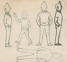 HERGÉ Georges REMI dit 1907 – 1983 TINTIN Dessin sur calque destiné aux studios Belvision représentant Tintin dans diffé...