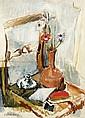 Isaac DOBRINSKY (Makaroff, Ukraine, 1891- Paris, 1973) VASE DE FLEURS ET ENCRIER, CIRCA 1950 Huile sur toile