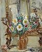Isaac DOBRINSKY (Makaroff, Ukraine, 1891- Paris, 1973) BOUQUET DANS UN POT DE GRES SUR LA CHEMINEE, CIRCA 1950 Huile sur panneau
