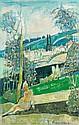 Joseph PRESSMANE (Berestesko, 1904 - France, 1967) JEUNE FILLE ASSISE DANS UN PAYSAGE, CIRCA 1950 Huile sur toile
