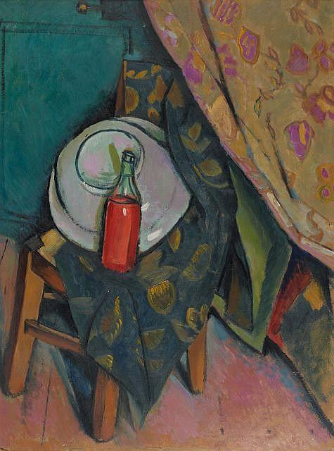 Vladimir BARANOFF-ROSSINE (Kherson, 1888 - Auschwitz, 1944) BOUTEILLE DE VIN SUR UNE CHAISE, CIRCA 1913 Huile sur carton