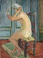 Jacques CHAPIRO (Dvinsk, 1887 - Paris, 1972) NU AU MIROIR, 1944 Huile sur toile