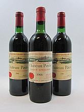 6 bouteilles 1 bt : CHÂTEAU PAVIE 1966 1er GCC (B) Saint Emilion (haute épaule, étiquette fanée)
