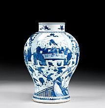 POTICHE EN PORCELAINE BLEU BLANC, CHINE, DYNASTIE QING, EPOQUE KANGXI (1662-1722)