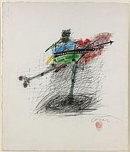CESAR (1921 - 1998) POULE PATINEUSE - Circa 1998 Stylo bille, crayons de couleur et huile sur papier