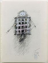 CESAR (1921 - 1998) SANS TITRE - 1991 Stylo bille et huile sur papier