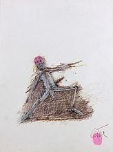 CESAR (1921 - 1998) SANS TITRE - 1990 Stylo bille et huile sur papier