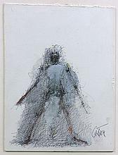 CESAR (1921 - 1998) SANS TITRE Stylo bille, crayons de couleur et huile sur carton