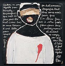 BEN (Né en 1935) AMNESTY INTERNATIONAL - 1989 Acrylique et tissus sur panneau