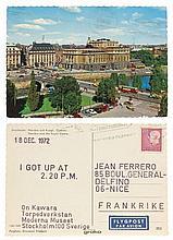 On KAWARA (1932 - 2014) I GOT UP AT 2.20 P.M. - 18 DEC 1972 Tampons sur carte postale