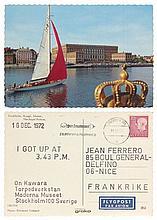 On KAWARA (1932 - 2014) I GOT UP AT 3.43 P.M. - 16 DEC 1972 Tampons sur carte postale