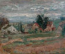 ¤ Michel KIKOINE 1892 - 1968 CHAUMIERE ET CYPRES - 1945 Huile sur toile